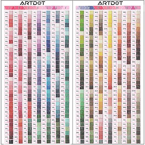 ARTDOT Accesorios Pintura Diamante, 5D Diamond Painting Color Chart con Número DMC a Juego Cuentas de Diamante de 445 Colores