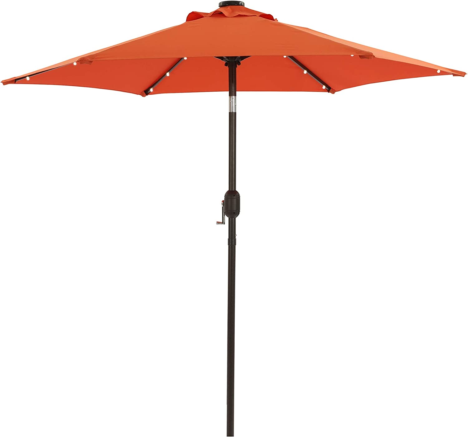Aok Garden 7.5 ft Solar Patio Umbrella with 18 LED Lights Outdoor Table Market Umbrella with Push Button Tilt and Crank 6 Sturdy Aluminum Ribs for Deck, Lawn, Pool& Backyard, Orange