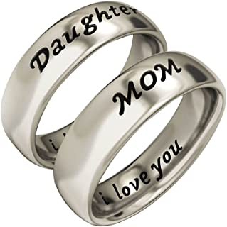 Mother Daughter Gifts Antique Family Jewelry White Gold Color Band Ring Set Engraved ' I Love You Mother's Day with Gifts Box