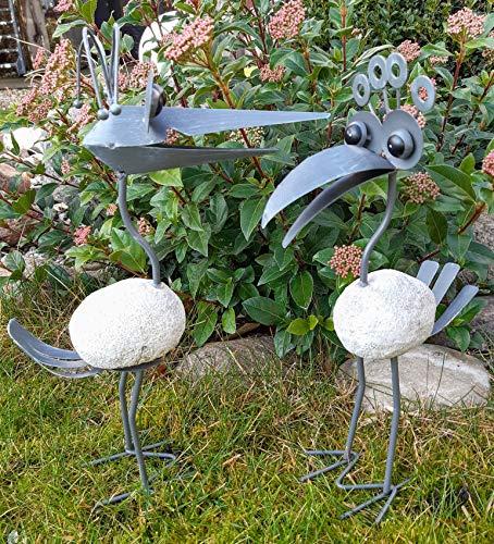 2er Set Steinvogel Gartenfigur lustige Vögel Vogel Gartendeko Teichdeko Tier Deko Figur Garten Metall und Polyresin