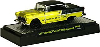 M2 Machines New 1:64 AUTO-MODS RELEASE 3 IN ACRYLIC CASES - YELLOW BLACK 1955 CHEVROLET BEL AIR HARDTOP Diecast Model Car