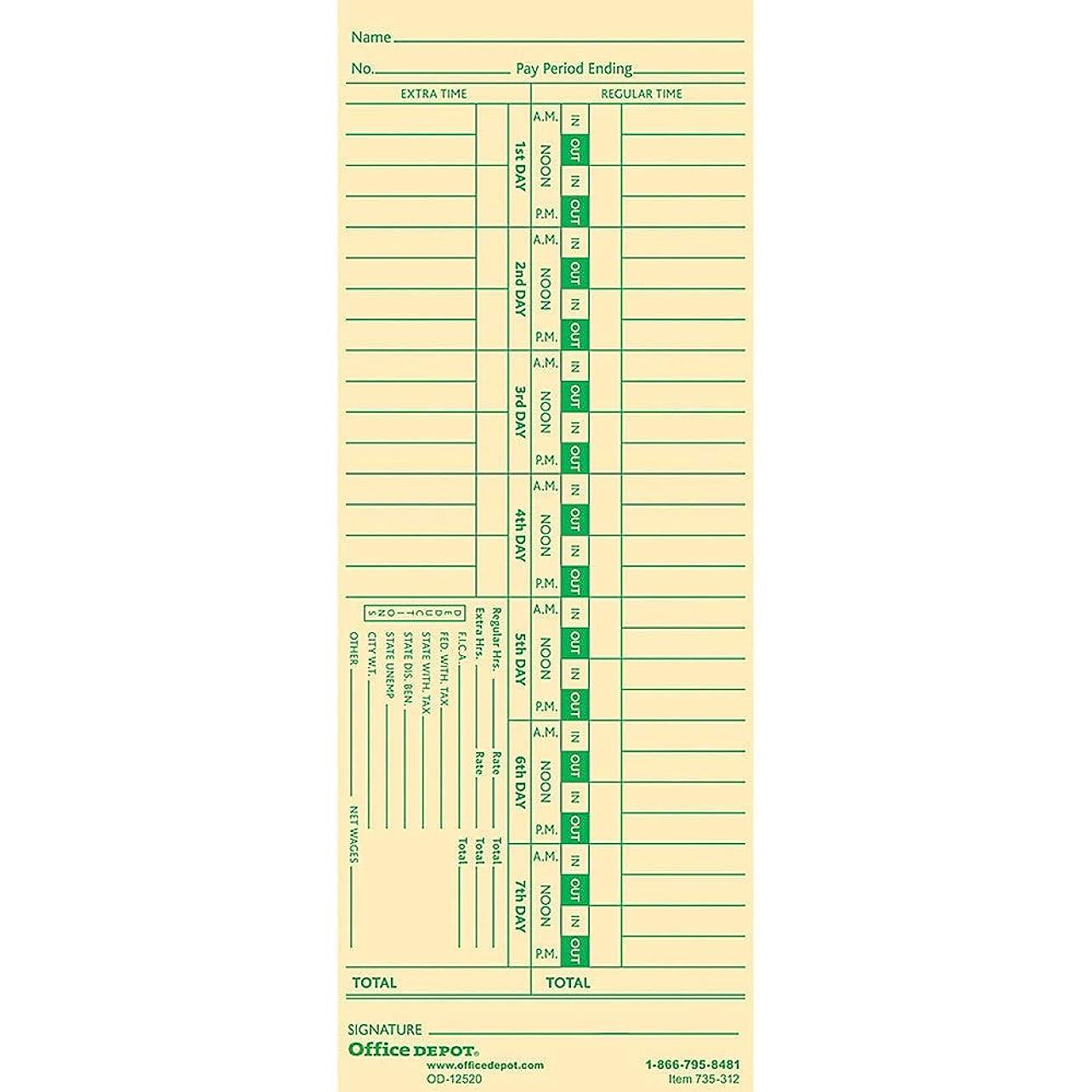 ネックレット勇敢な賞賛Office Depot時間カードwith控除、週単位、日1?–?7、1-sided、3?3?/ 8in. X 8?7?/ 8in。、マニラ、100パック、gb-735312