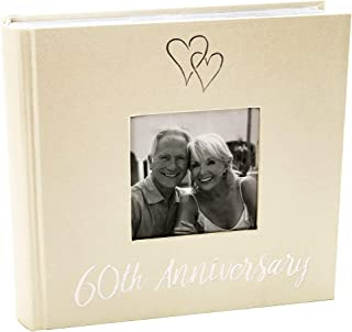 Haysom Interiors Lovely Diamond 60th Wedding Anniversary Photo Album with Double Heart Decoration - Inner Lining Pages to Personalize