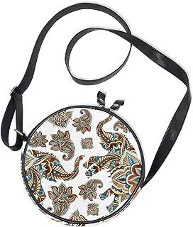 Ahomy Runde Tasche klein für Frauen – Elefant Paisley Boho Tribal Damen Mode Crossbody Tasche Umhängetasche