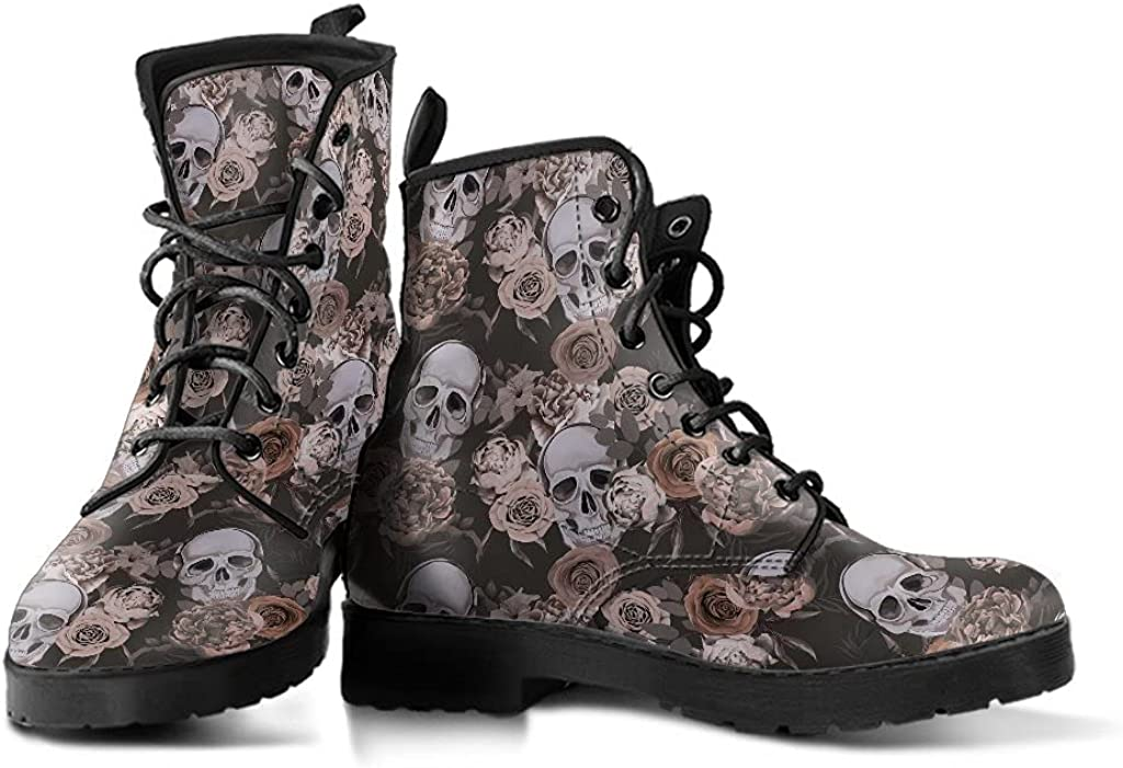 Womens Skull Boots, Womens Black Boot, Sugar Skulls, Handcrafted Shoes, snow Boots Women