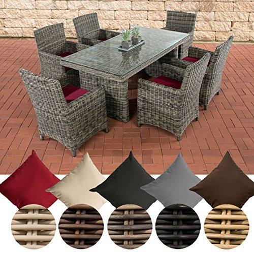 CLP Polyrattan Sitzgruppe Fontana Mit Polsterauflagen | Garten-Set: 1 Esstisch Mit Glasplatte und 6 Stühle, Farbe:grau-meliert, Polsterfarbe:Rubinrot