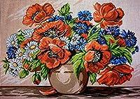 クロスステッチキット DIY 手作り刺繍キット 30x40cmの色とりどりの花 マルチストランド綿糸ニットクロスステッチ刺繍キット