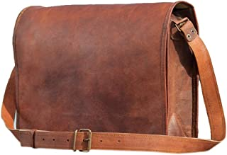 Pure Leather Vintage Leather Cross-body Messenger Satchel Bag(13.3 Inches)