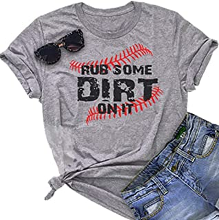 Rub Some Dirt On It Baseball Graphic Cute T Shirt Women's Letter Printed Softball Tees Casual Sports Tops