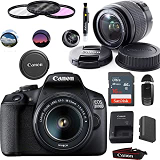 Canon EOS 2000D (Rebel T7) Digital SLR Camera with 18-55mm Lens Kit (Black) - Basic Accessories Bundle