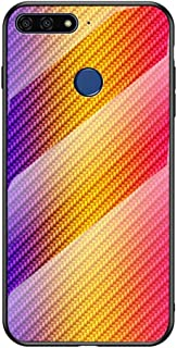 EUDTH Huawei Honor 7A (Fingerprint) Case, Luxury Carbon Fiber Mix Tempered Glass Hard Case Shockproof Protective Case Cover for Huawei Honor 7A (Fingerprint) - Gold