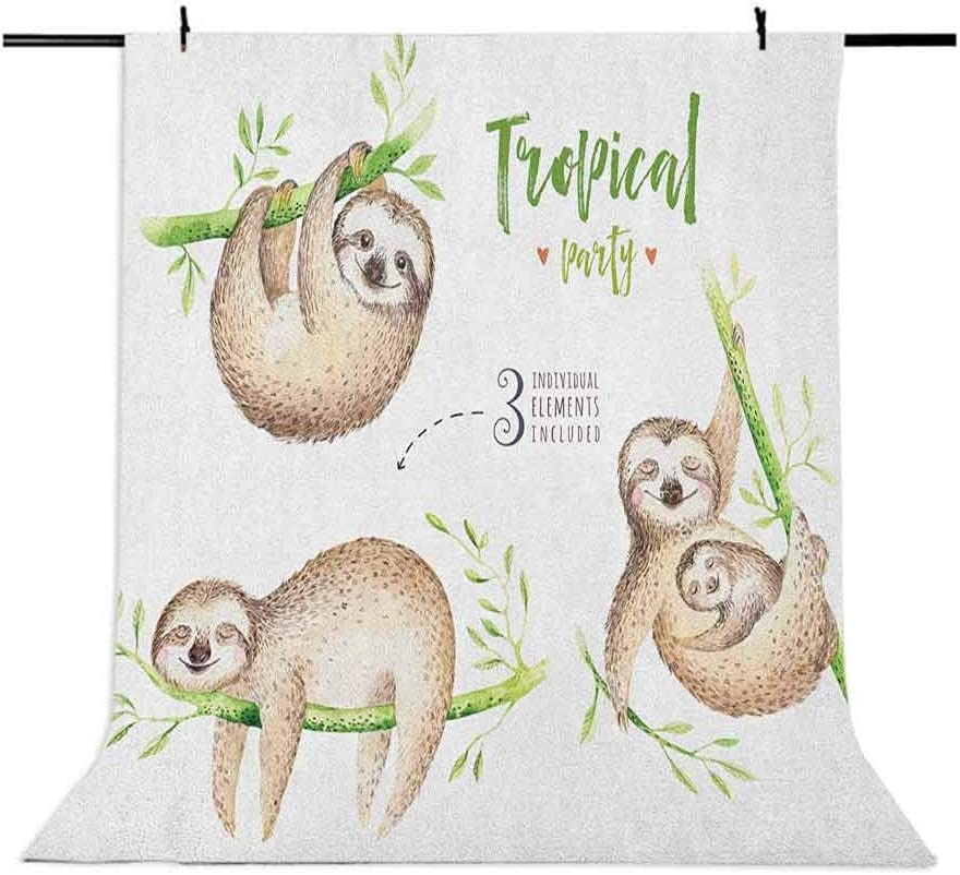 8x12 FT Sloth Vinyl Photography Backdrop,Cute Babies in Tropical Nature Theme Exotic Palm Tree Leaves Nursery Aloha Background for Baby Birthday Party Wedding Graduation Home Decoration
