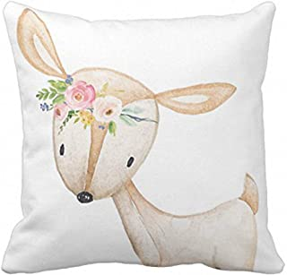 Emvency Throw Pillow Cover Floral Bohemian Boho Woodland Watercolor Baby Nursery Girl Decorative Pillow Case Home Decor Square 18 x 18 Inch Pillowcase