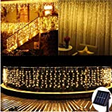 13ft(L) x 3.3ft(H) Solar Curtain Lights Outdoor,8 Mode,200 LED,Solar String Lights for Pool Glass Fence Handrail Railing Eaves Wall Pavilion Wedding Arch Playground Decoration-Waterproof (Warm White)