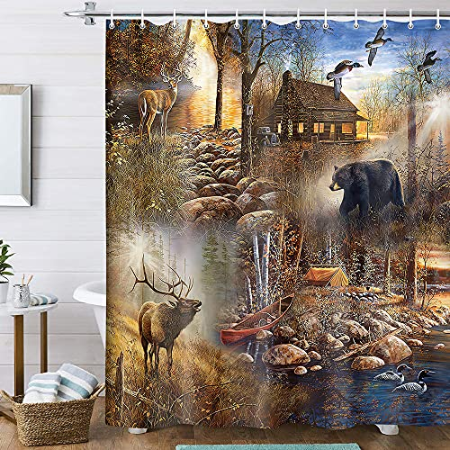 Rustic Farmhouse Shower Curtain, Bear Moose Lodge Woodland Shower Curtain Set, Country Lake Lodge Cabin Shower Curtain for Bathroom Decor with Hooks,70X70