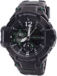 Casio G-Shock Men's GA-1100 Gravitymaster Watch, Black/Silver, One Size