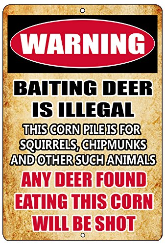 Rogue River Tactical Funny Hunting Metal Tin Sign Wall Decor Man Cave Bar Cabin Hunt Warning Baiting Deer is Illegal