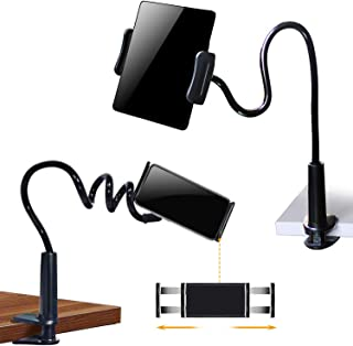 SRMATE Cell Phone & Tablet 2 in 1 Holder Stand Clip with Flexible Long Arm Gooseneck Bracket Mount Clamp for iPad,iPhone,Galaxy,Google Nexus,LG,Huawei,Used for Bedroom,Office,Desktop,Kitchen (Black)