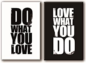 Quotes Wall Art Decor for Bedroom/Office, Well-known Saying Aphorism - DO WHAT YOU LOVE, LOVE WHAT YOU DO, Black and White Inspirational Celebrated Dictum Spirit Motto Canvas Prints (with Inner Frame)