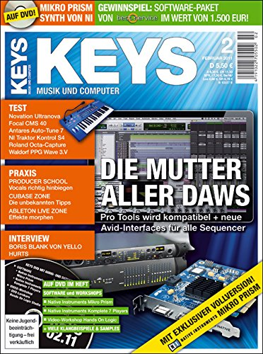 Keys 2 2011 mit DVD - Pro Tool Mutter als DAWs - NI Mikro Prism Synth Software auf DVD - Personal Samples - Free Loops - Audiobeispiele