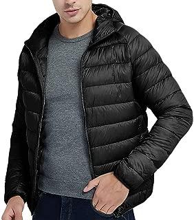 OMINA Mens Down Jacket with Hoodie Lightweight Warm Autumn Winter Thin Coat Regular Fit Casual Sports Zipper Outwear