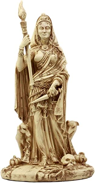 Ebros Gift Pagan Deity Hecate Statue Greek Goddess Of Magic Witchcraft Necromancy Hekate With She Dogs Decorative Figurine 10 75 H Neutral Finish