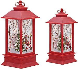 KOBWA - Farol LED de Navidad con batería para decoración navideña, Color Blanco cálido