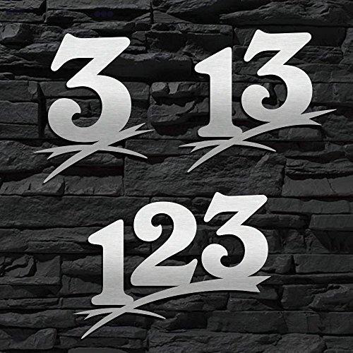 Hausnummer Edelstahl gebürstet Sonderanfertigung in groß (2-stellig / 16cm Ziffernhöhe) 20cm 30cm - auch mit Buchstabe-n erhältlich - Original ALEZZIO DESIGN - Rostfrei - Sonderanfertigung-en nach Maß