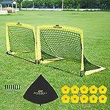 PodiuMax Lot DE 2 PCS Pop Up Football Goals | But de Football Pliable, But d'Entrainement pour l'enfant/Jardin/extérieur ou en équipe (Moyen | Grand