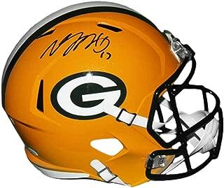 Davante Adams Packers Autographed Full Size Speed Football Replica Helmet Yellow (JSA COA)