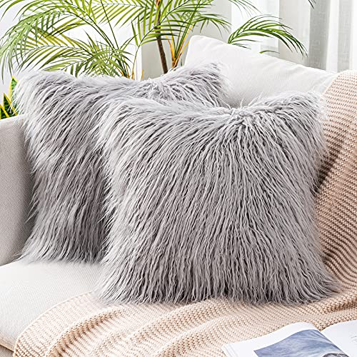 MIULEE Pack of 2 Decorative New Luxury Series Style Light Gery Faux Fur Throw Pillow Case Cushion Cover for Sofa Bedroom Car 18 x 18 Inch 45 x 45 cm
