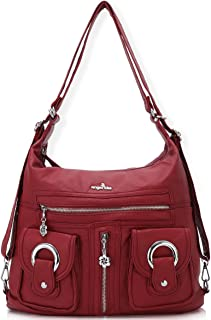 Angelkiss Womens Soft Leather Purses and Handbags Crossbody Bags Multifunctional Hobo Shoulder Bag Satchels for Women
