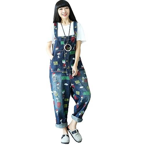 65064386e793 Vogstyle Women s Casual Printing Denim Jumpsuit Pants