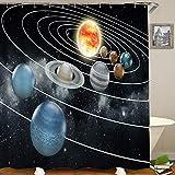 HUAYEXI Duschvorhang 180x180cm,Sonnensystem Alle acht Planeten & die Sonne Pluto Jupiter Mars Venus Science Fiction,Duschvorhang Wasserabweisend-Duschvorhangringen 12 Shower Curtain mit
