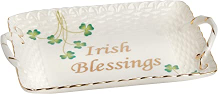 Nantucket Home Irish Blessings Basketweave Clover Ceramic Tray with Handles, 7-Inch