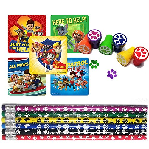 Puppy Paw Birthday Party Favor Set for 12 (12 Paw Print Stampers, 12 Paw Print Pencils, 33 Paw Patrol Stickers) by Unknown
