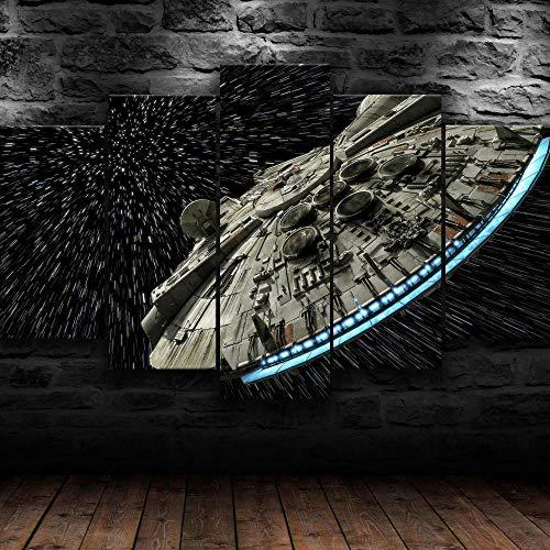 45Tdfc Cuadro En Lienzo 5 Piezas Halcón Milenario de Star Wars Dormitorio Arte Cartel Pared DecoracióN del Hogar Cuadro Pintura para Sala Estar Listo para Marco
