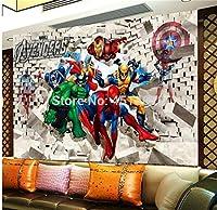 カスタム壁画壁紙3d壁画アベンジャーズ子供部屋寝室少年背景壁紙スーパーマンスパイダーマン壁紙