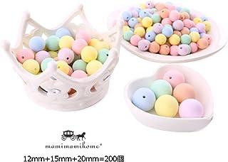 Mamimami Home 歯固め シリコーン製 ビーズ 12-15 - 20 mm キャンディー色 200個 噛がため 丸ビーズ ネックレス おしゃぶりホルダー DIY 材料パッケージ [糸の袋]