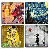 quadri moderni artisti famosi - klimt - kandinsky - van gogh - banksy - 4 pz. cm 30x30 cad. stampa su tela canvas arredamento arte astratto xxl arredo per soggiorno salotto camera da letto