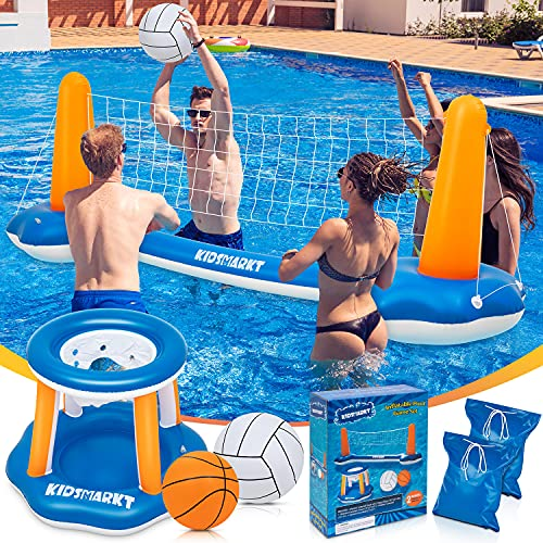 """Pool Volleyball Set & Basketball Hoop - 120'' Larger Pool Volleyball Net for Inground Includes 2 Balls & 2 Weight Bags, Pool Toys Game for Kids Teens and Adults - Volleyball Court (120""""x38""""x30"""")"""