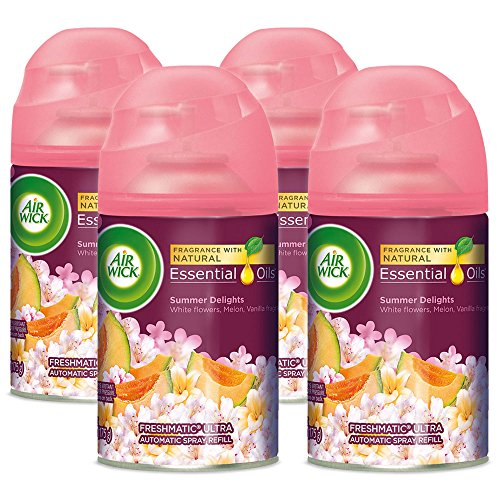 Air Wick Pure Freshmatic 4 Refills Automatic Spray, Summer Delights, 4ct, Air Freshener, Essential Oil, Odor Neutralization, Packaging May Vary