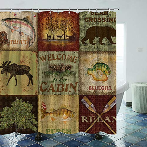 Rustic Shower Curtain Moose Bear Fish Fabric Shower Curtain with Hooks Forest Farmhouse Pine Lodge Cabin Bathroom Curtain Sets Bathroom Decoration 70×70Inches