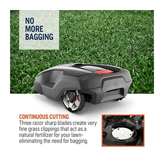 Husqvarna Automower 315X Robotic Lawn Mower 4 Maintain a yard the neighbors will envy with the touch of a button or the Command of your voice; Smart home meets smart lawn with Automower 315x Manage your mower's cutting schedule and track it's exact location with the Automower Connect app and start or stop your mower quickly via voice command using your Alexa or Google Home device Guided by hidden Boundary wires, Automower knows how to smartly maneuver around your yard and when it is time to return to the charging station for a battery recharge