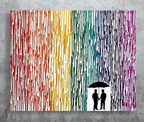 Rainbow Painting, Pride Art, Melted Crayon Art, Rainbow Wedding Gift 22x28