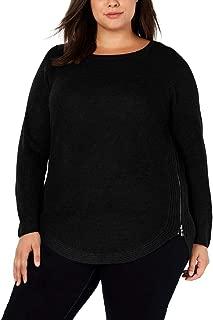 I.N.C. International Concepts I.n.c. Plus Size Waffle-Knit Side-Zip Sweater in Deep Black