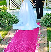 ShinyBeauty Aisle Runners for Weddings-4FTx15FT-Hot Pink,Sequin Aisle Runner,Aisle Runner Outdoor Wedding,Glitter Carpert Runner, Aisle Runner for Wedding Ceremony Party Graduation(4FTx15FT, Hot Pink)