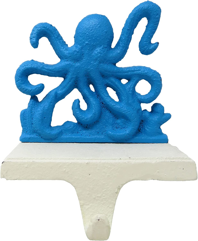 Needzo Blue Iron Octopus Christmas Stocking Max 42% OFF B Mantel Holder for Japan's largest assortment