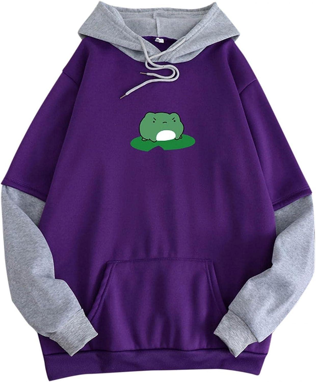 Masbird Hoodies for Women, Womens Frog Hoodies Fashion Long Sleeve Hoodies Anime Fall Sweaters Casual Cute Sweatshirt