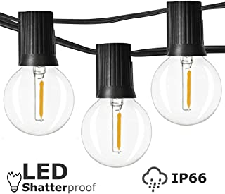 Newpow Outdoor String Lights 25ft with 25 Dimmable Shatterproof Waterproof LED G40 Globe Bulbs - Clear Plastic, 1W 60LM 2500K Warm Glow for Indoor/Outdoor Decoration and Lighting - Black